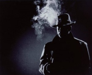 Shadowy film noir detective image with smoking gun