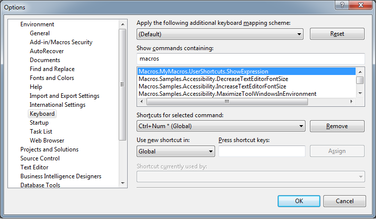 VS Macro key bind dialog
