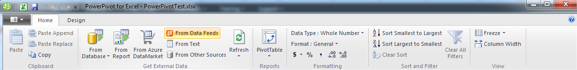 PowerPivot window ribbon in Win 7
